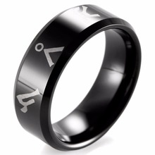 SHARDON 8mm Black Bevel Tungsten Carbide comfort fit lasered Stargate Atlantis address design Ring for Men