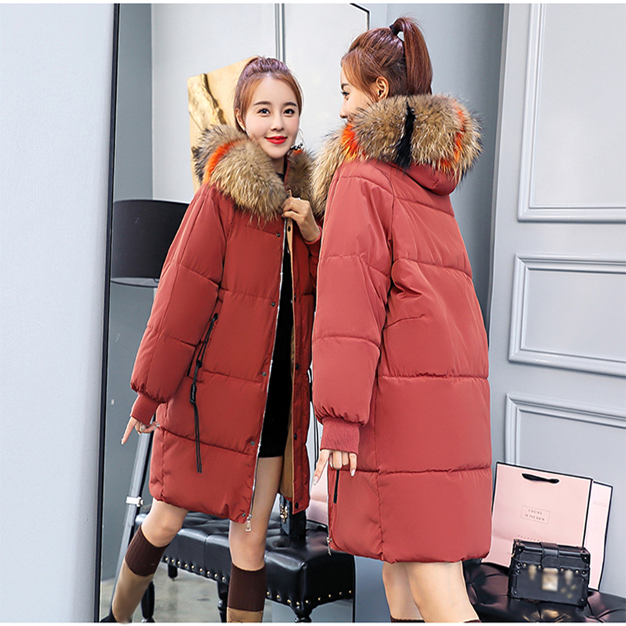 Thicken Warm Long Fur Collar   Down     Coat   Women Hooded Large Size Loose Womens Cotton Parka Outwear Slim Jackets Fashion Winter New