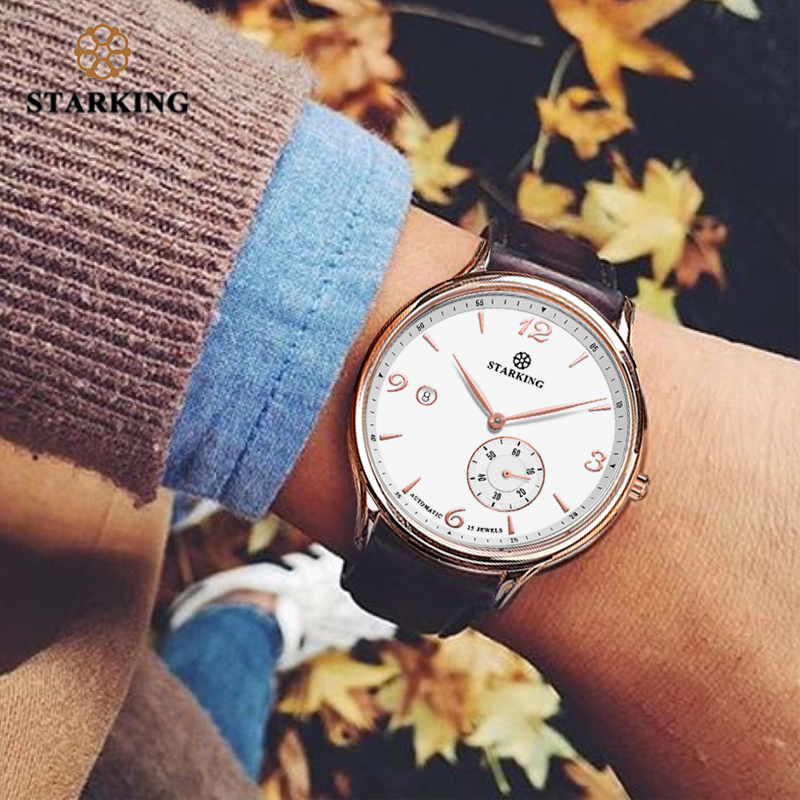 <font><b>STARKING</b></font> Vintage <font><b>Watch</b></font> Men Automatic Self-wind Wristwatch Sapphire Glass Stainless Steel <font><b>Watches</b></font> Auto Date Waterproof 5ATM 2019 image