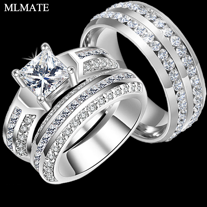 Heart CZ and Princess Cut CZ Stainless Steel Ring