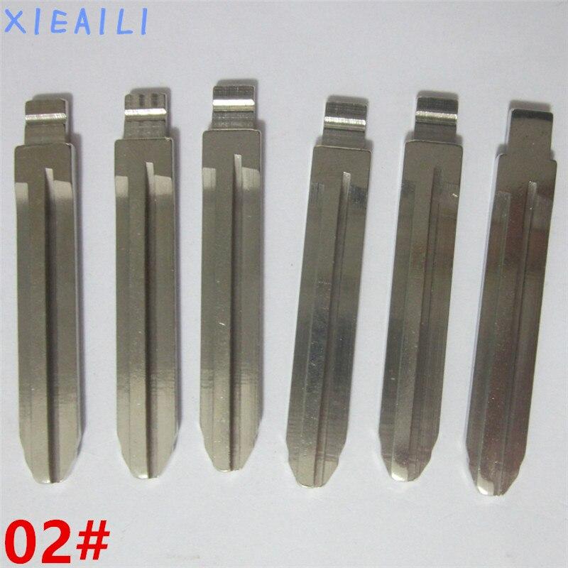 Xieaili 100 шт./лот 02 # металлической заготовки Uncut Флип KD удаленный ключевой лезвия для Toyota Camry/Reiz/Corolla m323