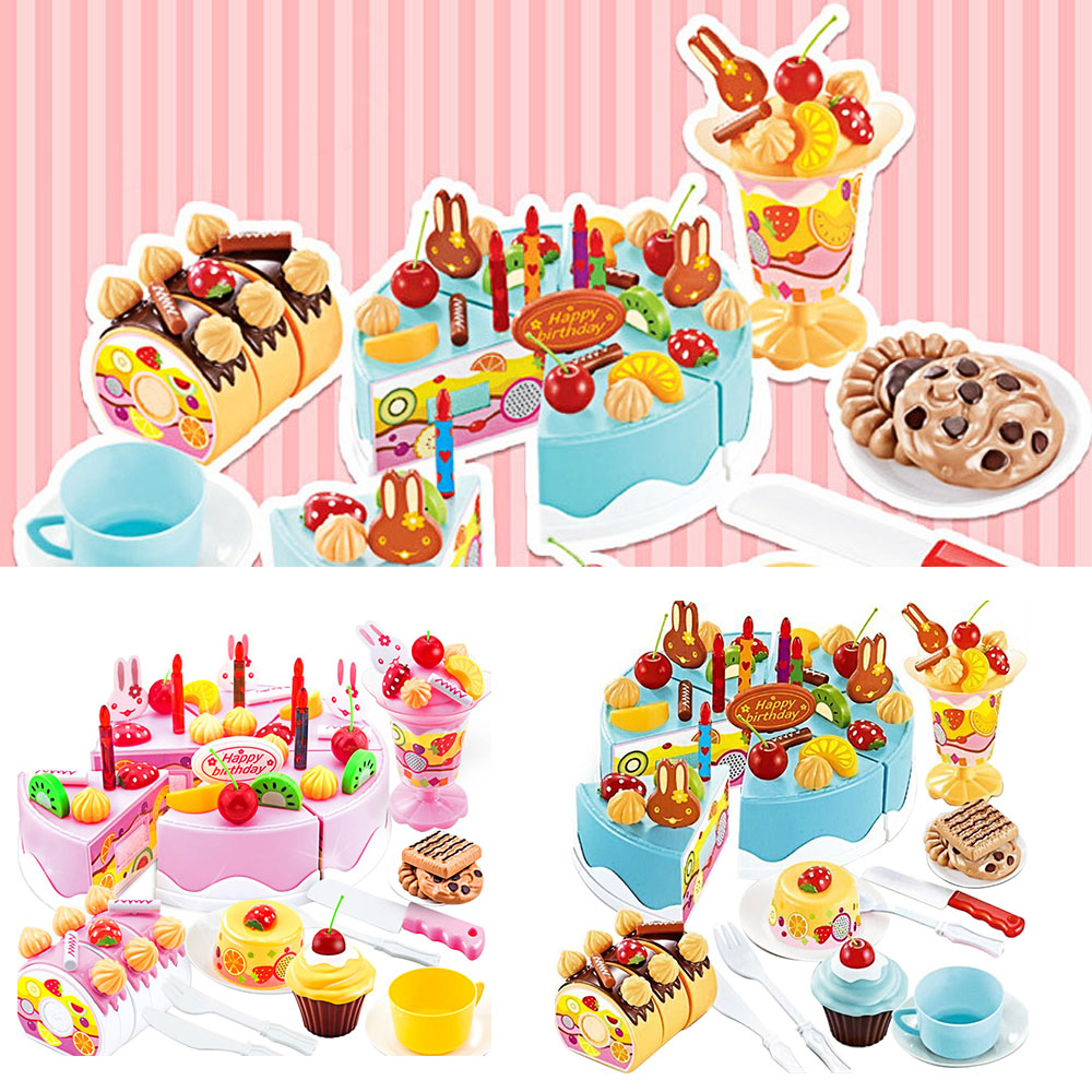75 PCS Kids Children Plastic Pretend Play Toys Kitchen Cutting Birthday Cake Toy Set Gift Toy for Girls Educational Fruits Food