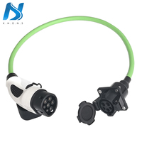 32A Single Phase Electric Car Vehicle EV Charger SAE J1772 Socket Type 1 To Type 2 EV Car Adapter Charging Plug 1.97Ft Cable