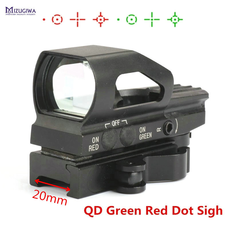 Tactical 4 Reticle QD Quick Release Green Red Dot Sight Metal Holographic Sight Laser Touch-tone Scope Picatinny Weaver 20mm