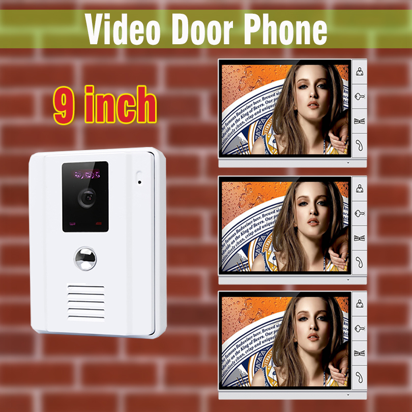 9″ Wired Video Door Phone Home Intercom Doorbell Security System 700TVL IR Camera Speakerphone For Villa