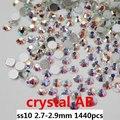 Cristal blanco Cristal AB Marca Material 1440 unids ss10 Rhinestones De AAA 2.7-2.9mm del Clavo No Hotfix Diamantes De Cristal del arte de Diy