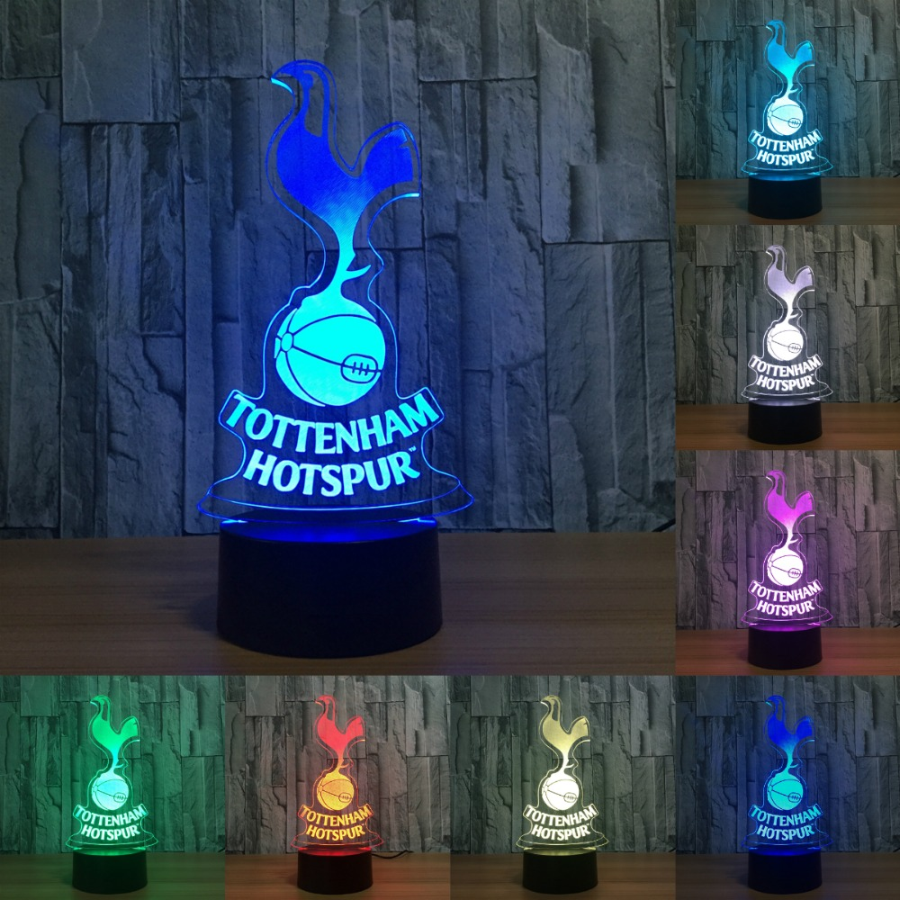 Tottenham Hotspur TTNM Night Light Football Club 3D Illusion Table Lamp 7 Color Changing Luminaria Touch Lights IY803007