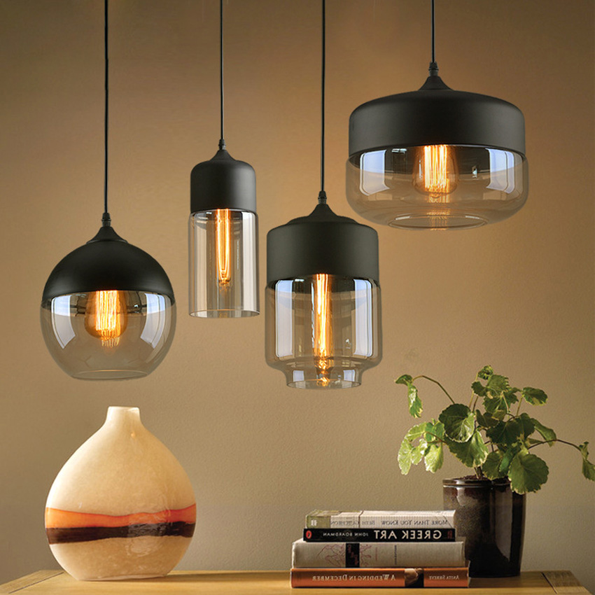 Modern Glass Pendant Lights Nordic Clear/amber Glass Lampshade Hanging Lamp For Restaurant Cafe Dining Room Lighting Fixture Limpid In Sight Ceiling Lights & Fans