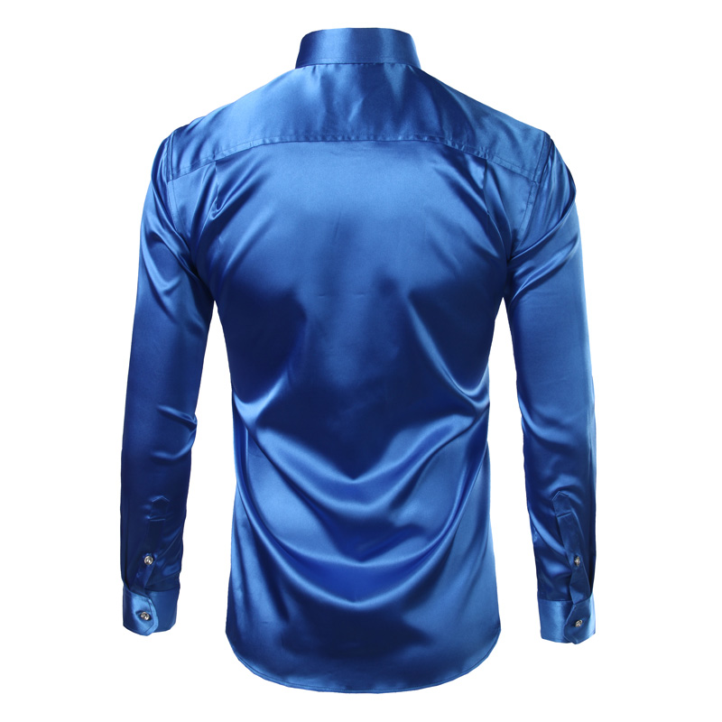 9f213303219d Πουκάμισα New Royal Blue Silk Satin Shirt Men Chemise Homme 2017 Fashion  Mens Slim Fit Smooth Solid Tuxedo Dress Shirts Business Wedding