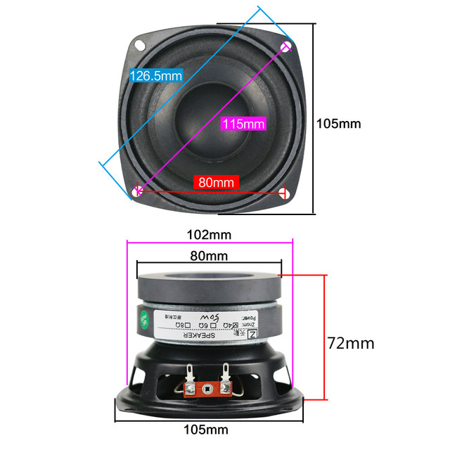 4 Inch 4OHM 50W Subwoofer Speaker 10 2