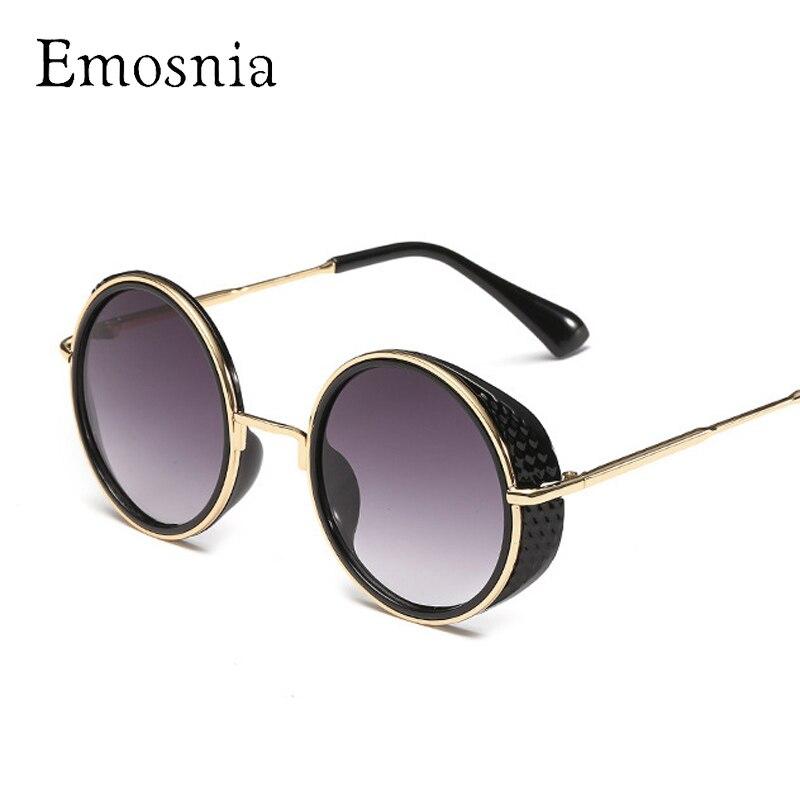 Emosnia Vintage Steampunk Goggle Sunglasses Women Round Mirror Fashion Sunglass Pink Floral Frame Brand Designer Female Oculos