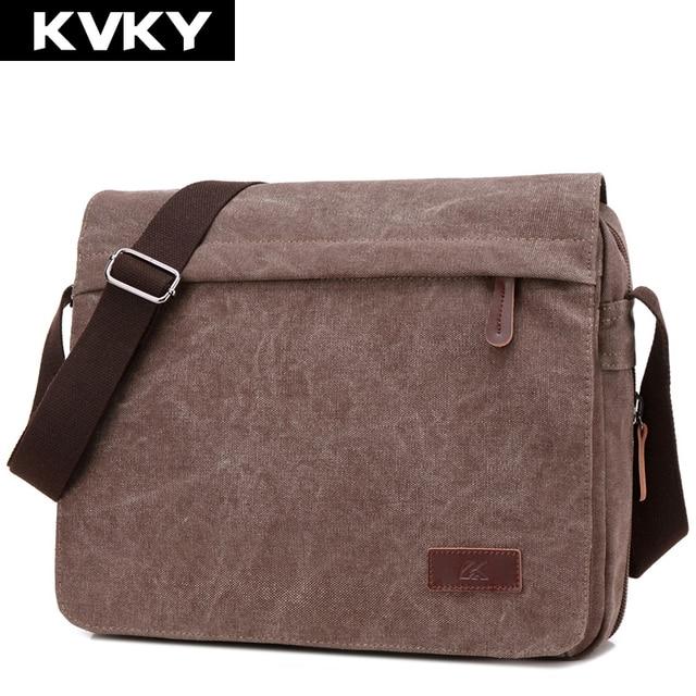 c5889f8930e2 KVKY Vintage Canvas Men Messenger Bag Brand Shoulder Bags Man Bag High  Quality Casual Crossbody Bag Handbag Casual Travel Bolsa