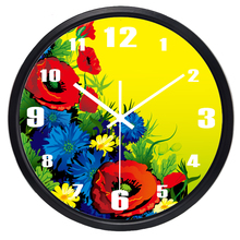 Modern European Resin Pastoral quartz clock Mute style wall clock fashion carving rose flower wall clock Glass Cover Metal