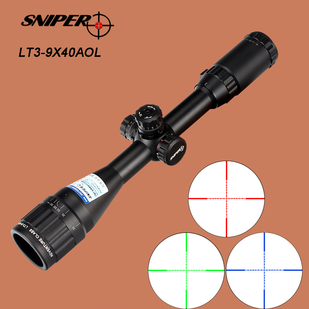SNIPER 3-9X40 AOL Optical Sight Riflescope Full Size Red Green Blue Mil-Dot llluminate Equipment Hunting Tactical Rifle Scope sniper white version of the sniper 6 24x50aol traffic light mil dot sight optical cross earthquake sniper scope
