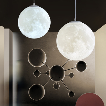 Art Nordic 3d Printing Moon Pendant Light Ball Modern Simple Living Room Droplight Bedroom Dining Hall Home Lighting