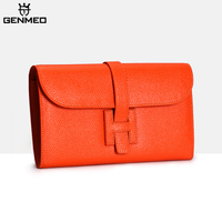 GENMEO Genuine Leather Wallet Women Leather Fashion Clutch Bags with Letter Female Coin Purse with Phone compartment Bolsa