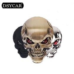 * DSYCAR 3D métal crâne Moto voiture autocollants Logo emblème Badge voiture style pour voitures universelles Moto accessoires décoratifs
