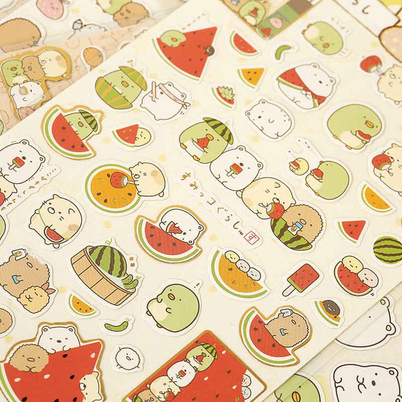 1 Folha de Canto Biológico Coréia Papelaria PDA Diário Decoração Bronzing Animal Dos Desenhos Animados da Melancia Papery Adesivo Adesivo
