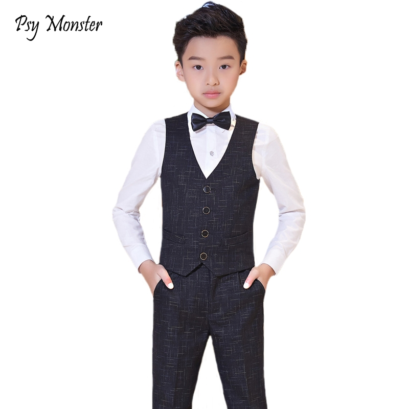 Brand Flowers Boys Wedding Birthday Dress Gentleman Formal Suit Kids Waistcoat Shirt Pant Bowtie 4Pcs Children Costumes F119