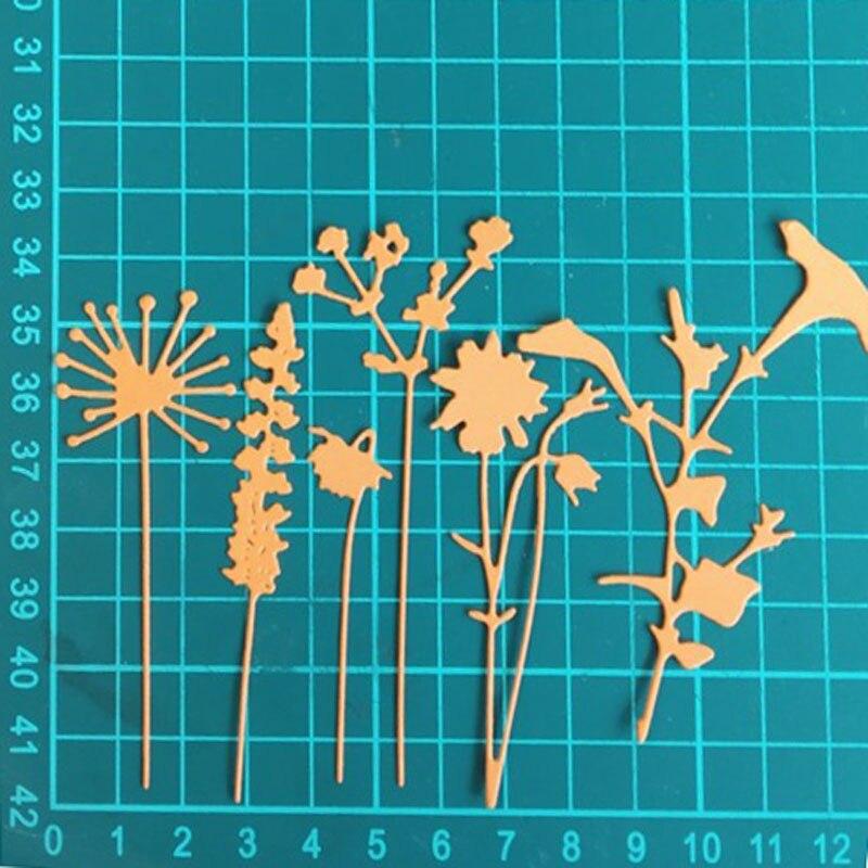 Knife Mold 6pcs/set Wildflowers Metal Cutting Dies Scrapbooking Carbon Steel Die Embossing Dies Cut Stencils DIY Decorative Card