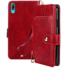 Y7 Pro 2019 Case on sFor Coque Huawei Cover for Fundas Enjoy 9 Luxury Zipper Wallet Button Flip Leather Cases