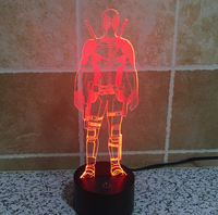 Hot NEW 7 Color Changing 3D Bulbing Light Super Hero X Men Deadpool Visual Illusion LED