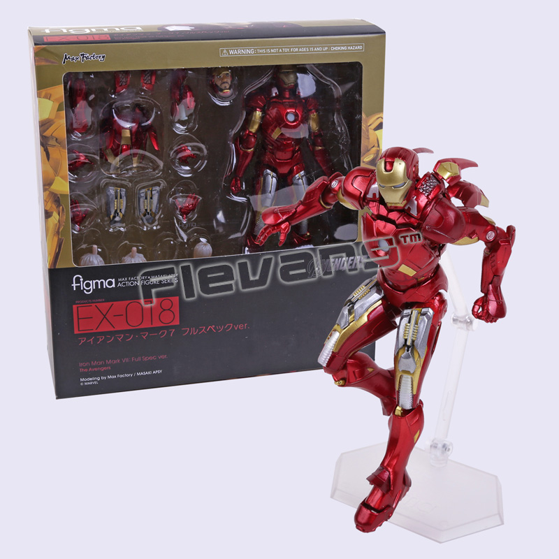 цена на Figma 217 / EX-026 / EX-018 Iron Man Mark VII MK 42 PVC Action Figure Collectible Model Toy