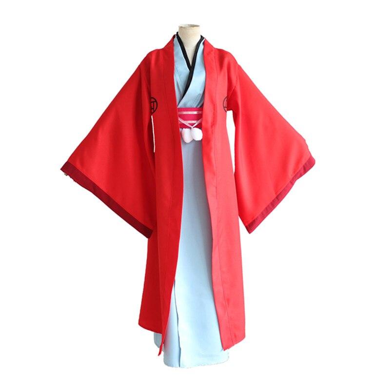 Fukigen na Mononkean The Morose Mononokean Haruitsuki Abeno Red Cape Kimono Set Cosplay Costume Halloween Party
