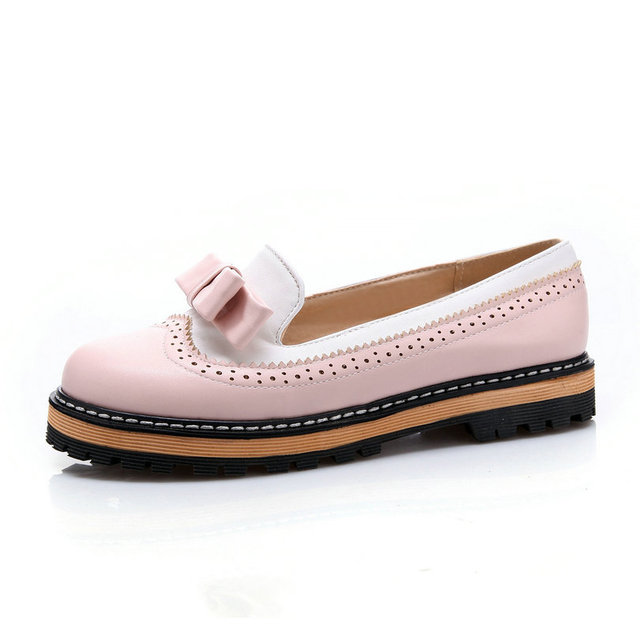 ESVEVA Spring/Autumn Slip On Round Toe Flat Women Shoes Mixed Color Lace Shallow Mouth PU Soft Leather Miss Shoes Size 34-43Pink