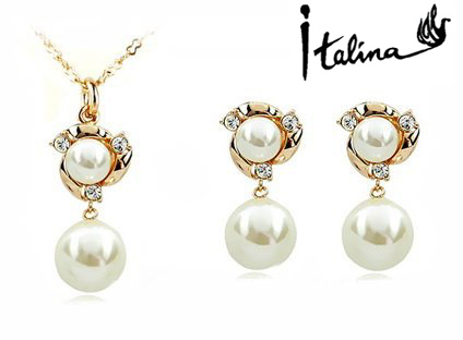 New Sale Real Italina R.A Austrian Crystals    Pearl Jewelry Set for women  #RA80537+20305