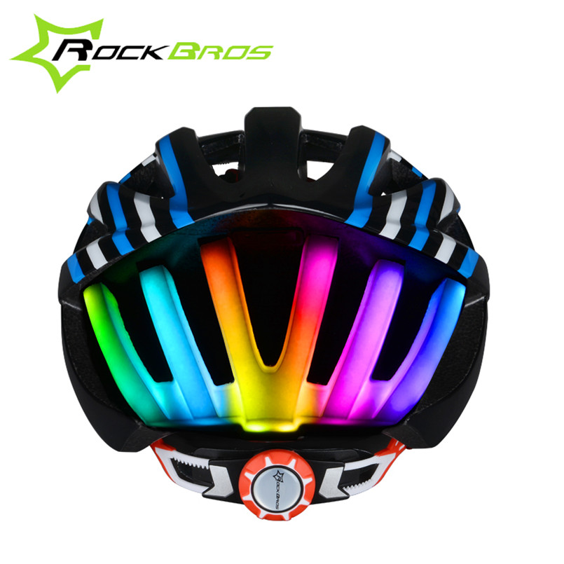ROCKBROS 2017 Pro Cycling Helmet MTB Bicycle Helmet With 3 Modes Tail Light Integrally-molded Bike Helmet Night Safe USB Charge rockbros titanium alloy cycling bicycle seatpost 31 8mm 535mm