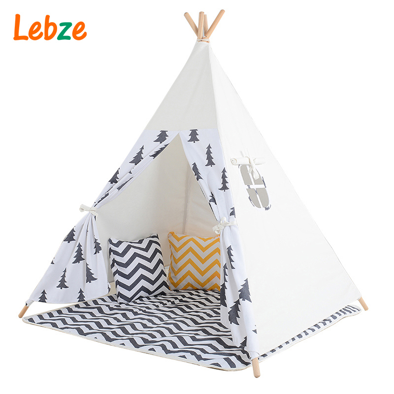Black Tree Printed Children Teepee Four Poles Kids Play Tent Cotton Canvas Tipi For Baby House Ins Hot Foldable Children's Tent mrpomelo four poles kids play tent 100