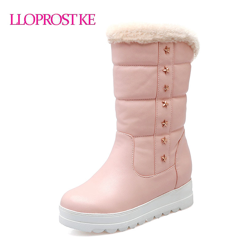 LLOPROST KE Women Boots Casual Sweet Mid-Calf Boots Round Toe Height Increasing Lady Shoes Winter Warm Botas Femininas GL064 2015 retro elastic band rivets height increasing pointed toe platform 2 colors real leather mid calf boots women outdoor shoes