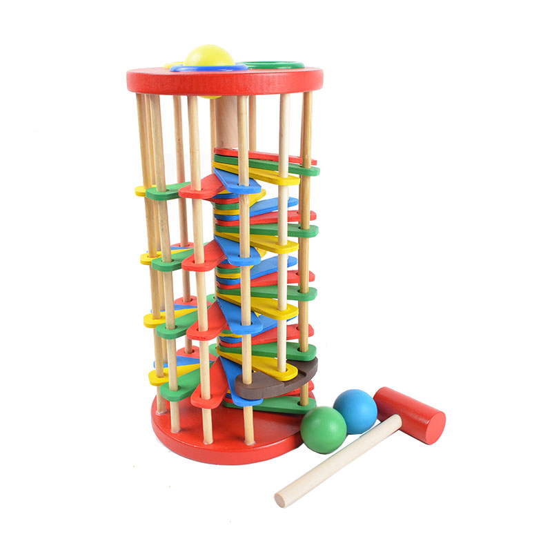 BOHS Pound and Roll Wooden Tower with Hammer , Knock the Ball Rolling Off Ladder Baby Toys playful chasing and rolling beaver ball 2 aa