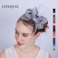 Высочайшее качество Sinamay делая волосы лук чародей элегантные женские фаты чародей шляпа гонок Королевский коктейль шляпа SYF143