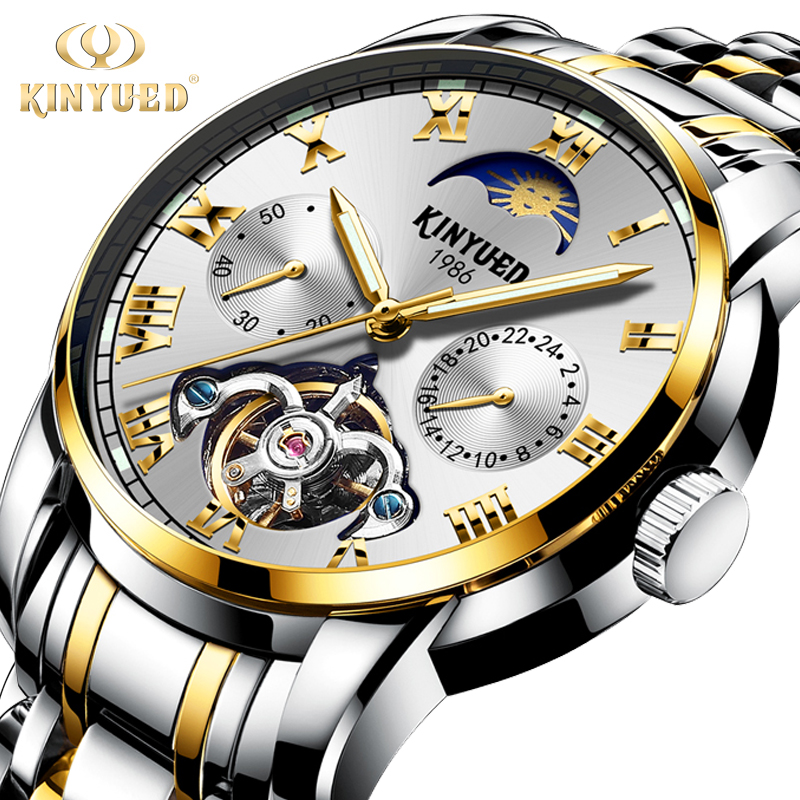 цена на KINYUED Moon Phase Skeleton Watch Men Chronograph Stainless Steel Top Brand Mechanical Watches Automatic Tourbillon montre homme