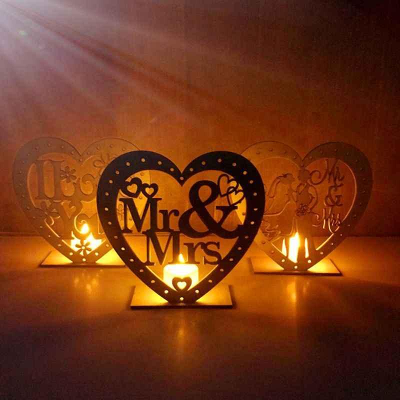 Wedding Wooden Ornaments MR&MRS Heart-Shape Romantic Pendant Plate With LED Light Ornament Home Decor Wedding Decoration Festiva