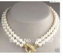 """Use Natural Pearl NECKLACES Natural Wholesale 2row Natural 8-9MM White Akoya Cultured Pearl Necklace long 17-18"""""""