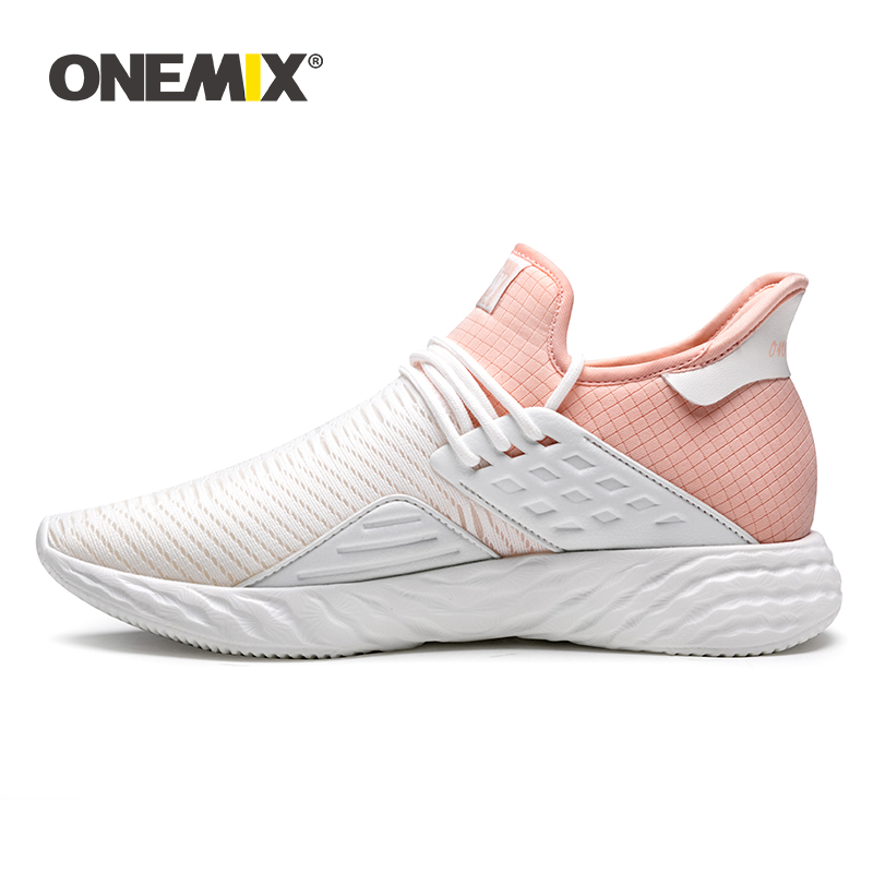 ONEMIX Women Running Shoes Breathable Sneakers 2020 Lightweight Slip-on New Vulcanized Shoes Couple Casual Jogging Shoes Size 43