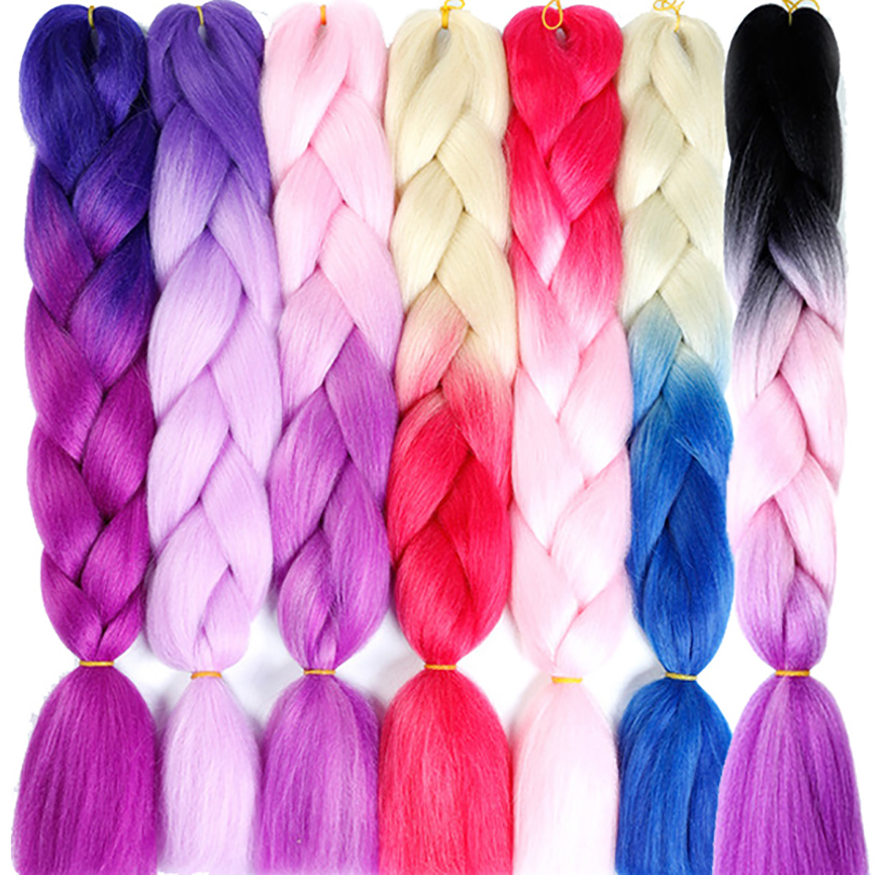 24 Kanekalon Braiding Hair Ombre Two Tone Colored Jumbo Braids Hair Synthetic Hair For Dolls Crochet Hair 100g/pack Jinkaili Dependable Performance Hair Extensions & Wigs Jumbo Braids