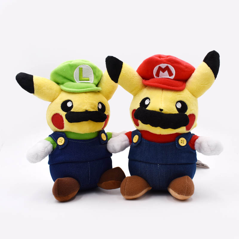 Super Mario Pikachu Plush Toy Cute Pikachu Cosplay Mario Stuffed Soft Dolls 9