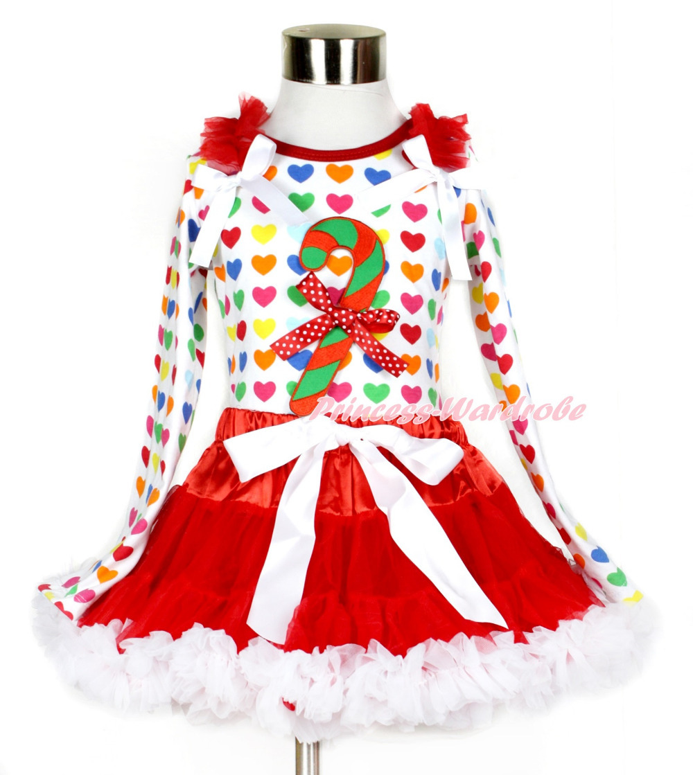 Red White Pettiskirt with Xmas Stick Print & Minnie Dots Bow Rainbow Heart Long Sleeve Top with Red Ruffles & White Bow MAMW410 white pettiskirt with patriotic america heart white ruffles