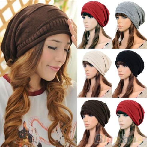 Unisex Women Winter Plicate Baggy Beanie Knit Crochet Ski Cap Oversized Slouch Hat  1P8N hot sale unisex winter plicate baggy beanie knit crochet ski hat cap