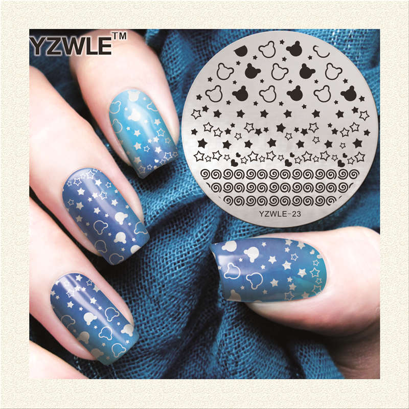 1 Piece Yzwle Round 56cm Nail Art Stamp Template Cut Star Lollipop