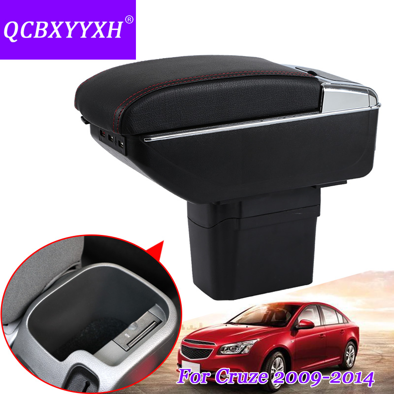 QCBXYYXH For Chevrolet Cruze 2009-2014 Armrest Central Store Content Storage Box With Cup Holder Ashtray Products Accessories qcbxyyxh for chevrolet sail 3 armrest central store content storage box with cup holder ashtray abs leather accessory 2015 2018