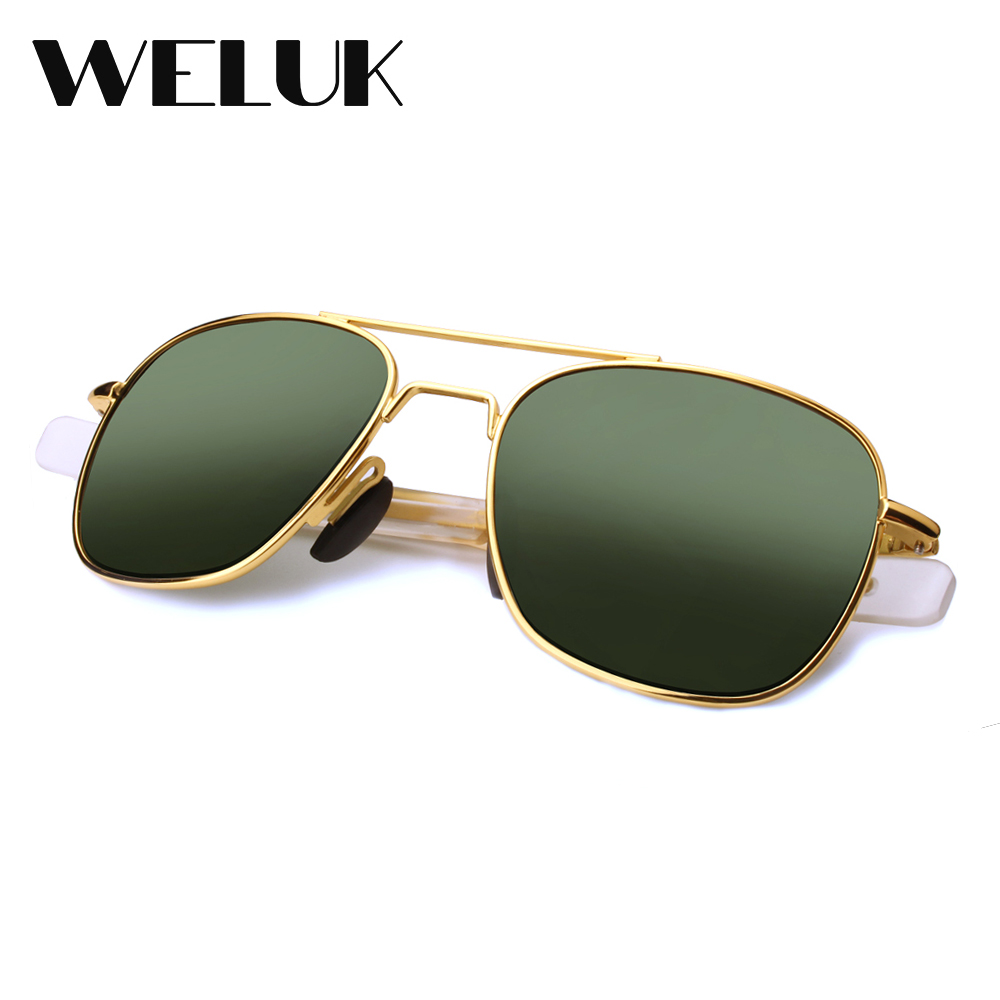87fa891337 WELUK Fashion Brand Military AO Polarized Army Pilot Sunglasses American  Optical Glass Lens Sun Glasses Oculos De Sol Masculino-in Sunglasses from  Apparel ...