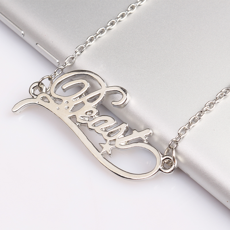 Beauty and the Beast Silver Metal Necklece Beast Letter Logo Pendant for Man and Woman Fans Jewelry Gifts Dropshipping