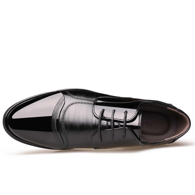 2018 мужские классические модельные туфли на плоской подошве; итальянские официальные Туфли-оксфорды из натуральной кожи с перфорацией; зимние модельные туфли из искусственной кожи размера плюс