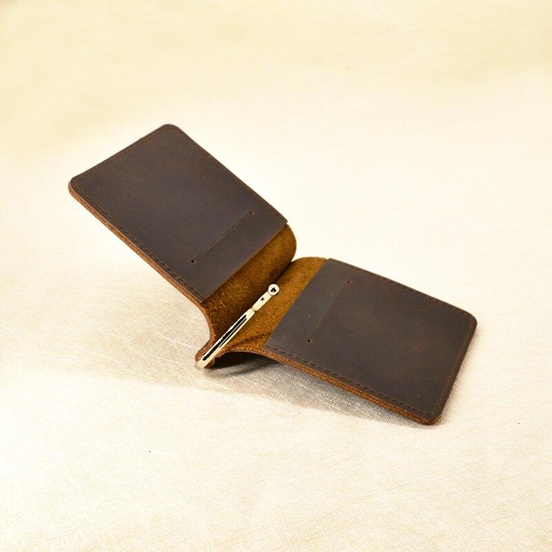 Handmade Money Clip Wallet Slim Genuine Leather With Metal Money Holder Wallet Vintage Stainless Mens Wallet Clip Bill Holder