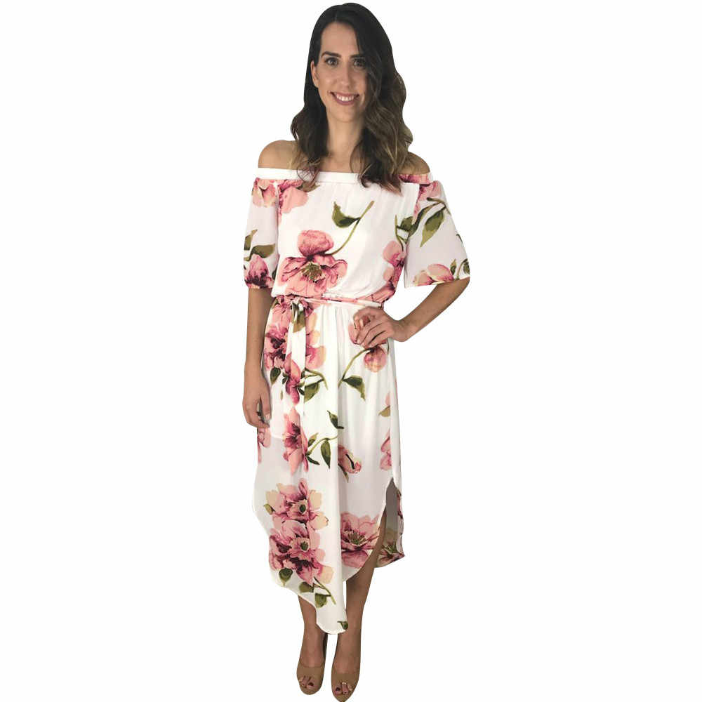 ... Boho Dresses Floral Leaves Print Beach Party Dress Strappy Clubwear  Dresses Spaghetti Strap Cold Shoulder kim ... 5c0840a6f17e